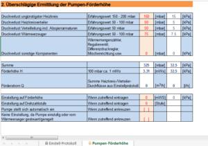 "Screenshot von Tabellenblatt ""Pumpen-Förderhöhe"""