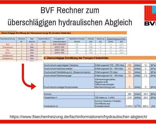 BVF Rechner Zum überschlägigen Hydraulischen Abgleich