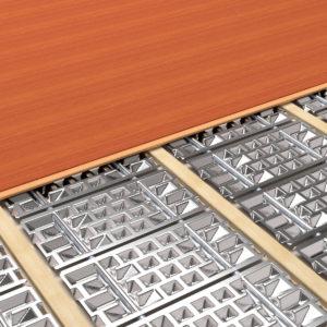 Aufbauten ab 55 mm, gerechnet von der Oberkante Dämmebene, sind in Vollholz möglich. Das System lässt sich unter Parkett, Dielenbeläge und Trockenestrich installieren.
