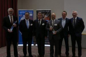 Freuen sich über den BVF-Award 2017: Heinz Eckard Beele (IMI), Hans Arno Kloep (Querschiesser) als Laudator, Ulrich Stahl (Vorstandsvorsitzender des BVF e. V.), Michael Schuster, Christian Kemper und Karl-Heinz Kramer (alle Wavin).