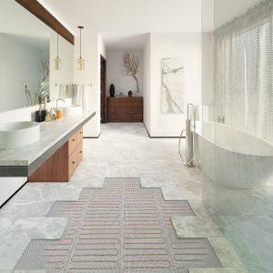 Die elektrische Flächenheizung sorgt als Zusatztemperierung im Bad ganzjährig für warme Füße