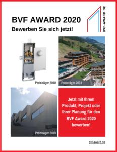 Wer erhält den nächsten BVF Award? Die Bewerbungsphase für Einreichungen läuft bereits.