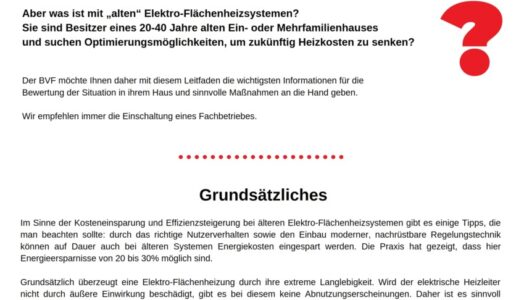 BVF Infoblatt: Tipps Zum Effizienten Heizen Mit Der Elektro-Flächenheizung Und Zur Modernisierung Bestehender Anlagen